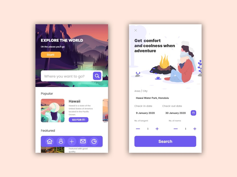 Travel App UI Design ui design ui  ux artist flat flatdesign illustration vector web ux ui design art