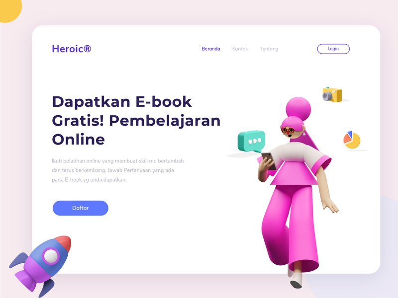 Landing Page -  Online indonesia concept landing page design 3d sketch figma ui ux design landing page web design website web ux illustrator ui vector branding art design illustration