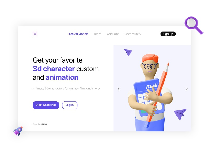 Free Character Creator -  Website Design 3d animation blend sketch app figma website design flat illustrator vector branding art design illustration character animation uiux uidesign 3d art 3d character design character