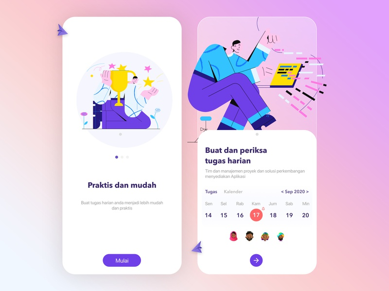 Task App - Design uidesign ui kit ui ux webdesign website animation web ux flat ui application school learn task study art illustration illustrator mobile app