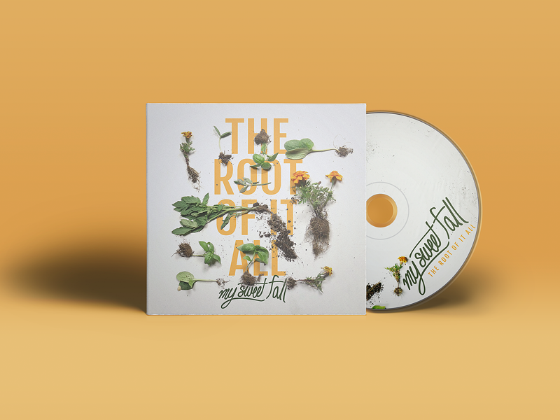 The Root Of It All - Mockup pop punk album artwork typography grid dirt floral flowers clean cd music band mockup
