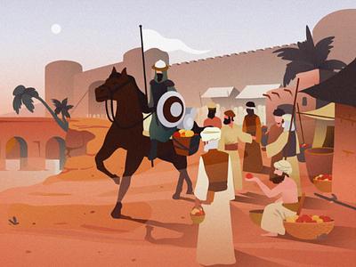 Market of Arabia illustration design