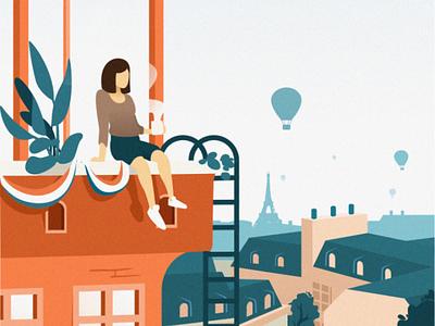 Tour de Paris illustration flat design