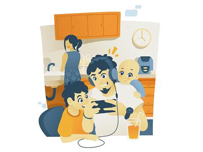 Family Quality Time illustration flat design ui
