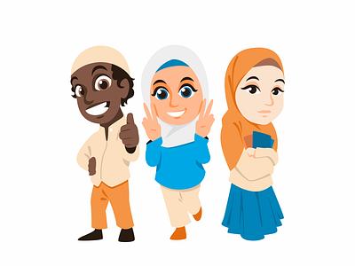 Ali, Zahra & Maryam Mascot Design ramadhan mascot character islam mascotdesign mascot chibiillustration chibi characterdesign character illustration design illustration design illustration