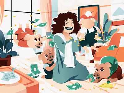 Anak anak Babi pig ied alfitr ied chibiillustration illustration graphic design characterdesign character illustration design illustration design illustration