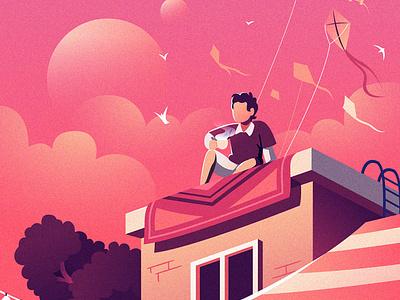 Chilling in sunset illustrator design inspiration sunset chilling illustration graphic design illustration design illustration design illustration