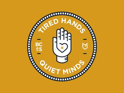 Tired Hands Quiet Minds big cartel stickers hat apparel emblem patch