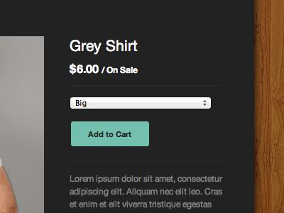 Sidecar Product Detail big cartel shopping cart web design ui e-commerce theme template