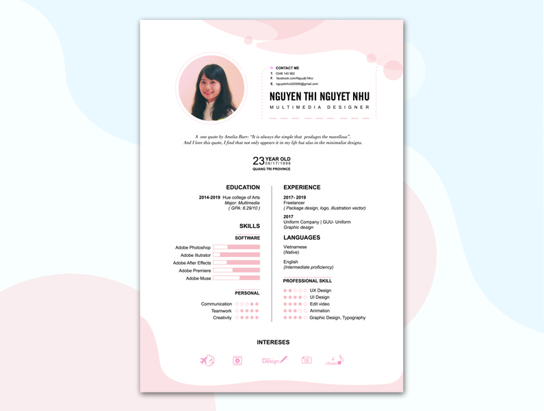 My resume clean theme clean design cv resume uidesign personal design