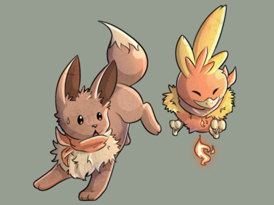 Eevee and Torchic in Pokémon mystery dungeon DX