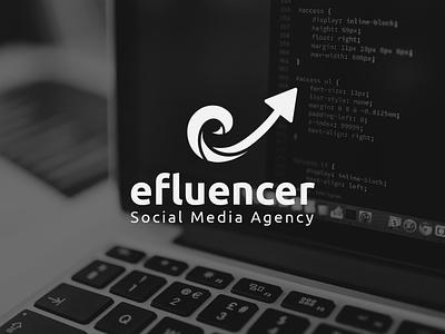 efluencer | Concept Logo Design social media marketing agency marketing media agency gradient branding icon minimal logo design
