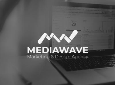 MediaWave   Logo branding flat minimal logo design