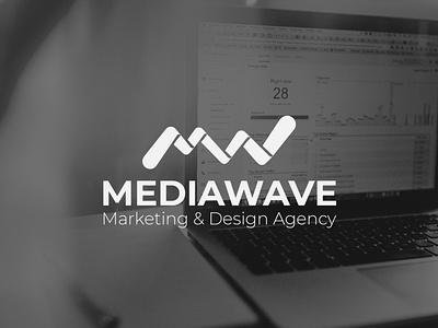 MediaWave | Logo branding flat minimal logo design