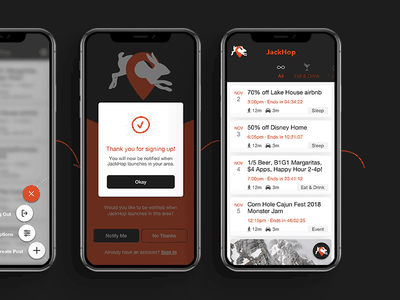 Jackhop -  Post events in your area app design ux ui uiux mobile app
