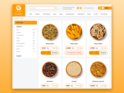 E-commerce Interface for Food Shop navigation category page product yellow gray minimalistic food e-commerce design e-commerce shop e-comerce food and drink