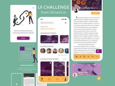 Story writing & sharing app - UI Challenge dailyuichallenge daily ui challenge design ux ui uichallenge