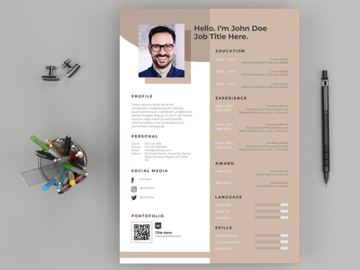 Resume Cv Layout And Cover Letter By Masketer On Dribbble