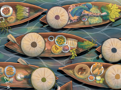 Floating Market market art boat
