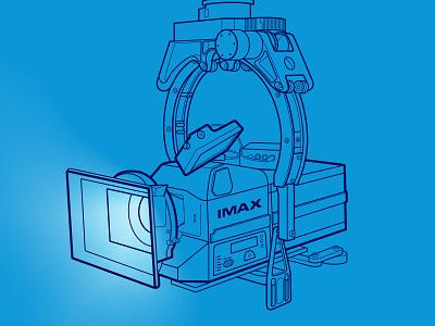 IMAX camera bulb projector light blue line lerston illustration cinema camera imax