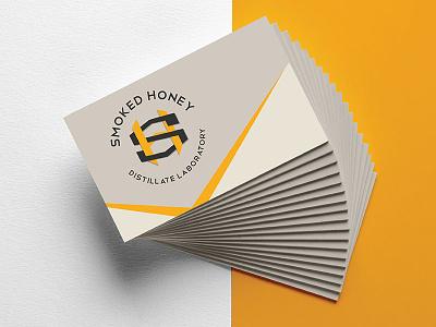 Smoked Honey business cards branding illustration seal cannabis packaging logo badge