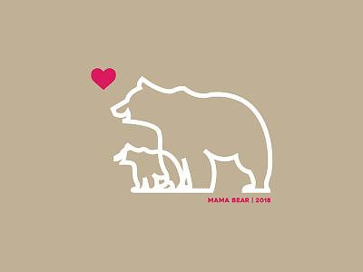 Mama Bear 2018 badge logo mark illustration thick lines bear