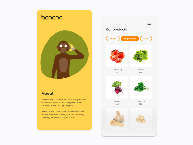 BANANA.uy E-Market food app online shop online store ecommerce marketing product design visualidentity flatdesign vegetarian vegan cards user interface monkey delivery app banana illustration branding mobile ux user experience mobile ui