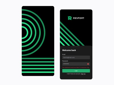 Resport profile team ux uiux cards ui football app soccer app football metrics cards sports splash login