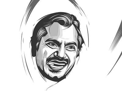 Nawazuddin Siddiqui black and white vector illustration flat graphic design vector portrait design vector artwork illustration portait portrait illustration vector art vector-art