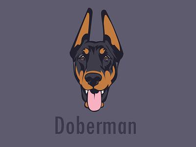 Doberman dog art animation avatar vector portrait design animal vector art art book logo mascot logo branding illustration portrait illustration design vector artwork portait dogs doberman graphic