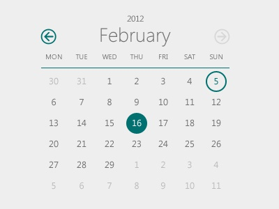 Windows 8 calendar dribbble shot 2