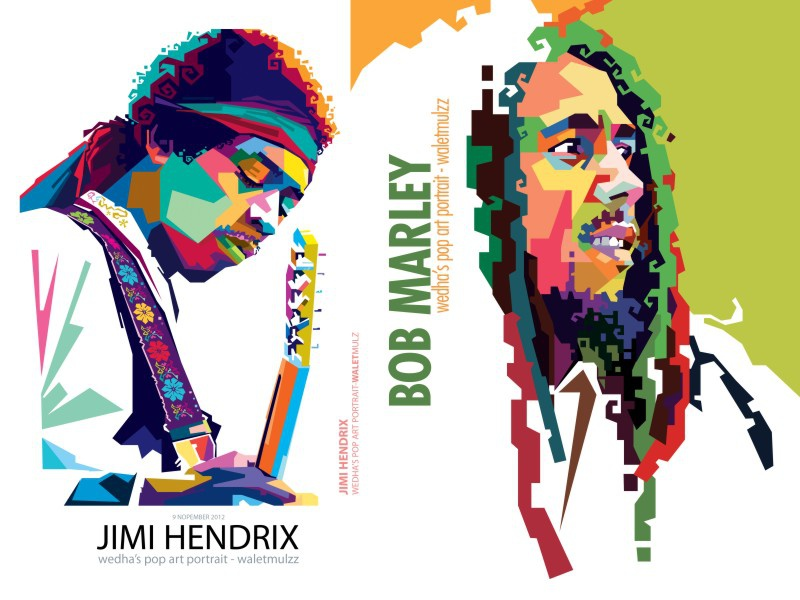 9e4aba1dd1 Jimi Hencrix & Bob Marley wpap vector portrait pop illustration human color  art marley bob hencrix