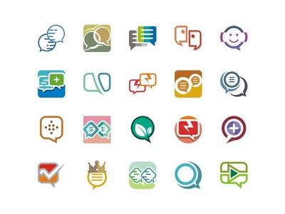 Chat Stock Logo communication connect set talk forum blog vector design icon logo stock chat
