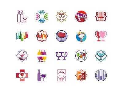 Wine Stock Logo set design color drink cafe pub bar icon logo stock wine