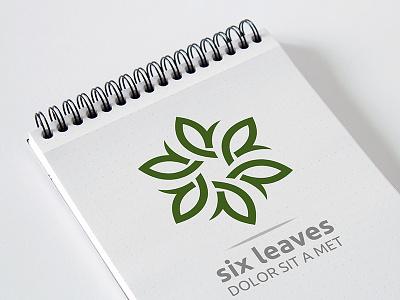 Six Leaves Logo Template nature eco green farm stock vector template design logo leaf leaves six