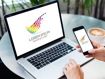 Wing Pixel Logo company business identity brand design fotolia vector color pixel wing logo
