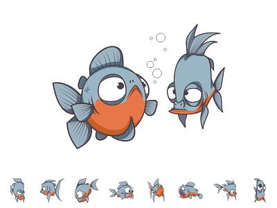 Fish Cartoon water sea toons mascot logo jungle illustration gray funny fish cartoon animal