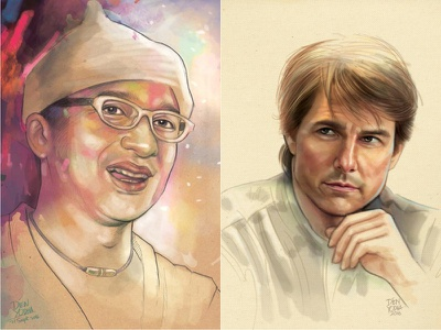 Done in Photoshop with a Mouse - 100% digital painting tom cruise potrait photoshop photo drawing painting digital artwork art