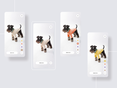 Online Pet Shopping Experience: Color Switch Interaction hover animation ios app mobile san francisco prototype freelance soothing minimal adobexd white interactive scrolling slider onlineshoppping pet ux ui design