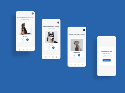 Dog breed learning app for kids swipe kids learning premiere xd adobexd app mobile ui ux animation interaction prototype