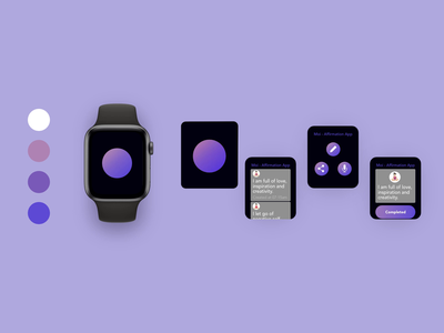 Affirmation practice voice activated smartwatch app🔈🔈🔈 protoype purple minimal freelance hover scrolling interaction voiceui voiceactivation animation premierepro adobexd wellbeing affirmation smartwatch app ios ui ux