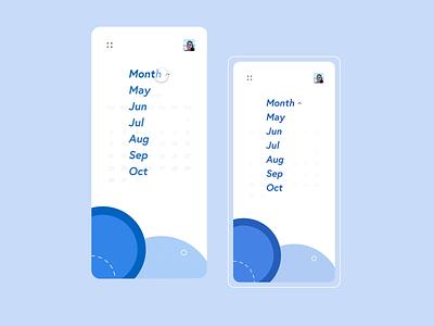 Calendar animation app design hover dropdown freelance hope lockdown premierepro adobe adobexd app mobile ios traveling white blue interaction prototype animation ui ux