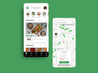 Social Eats - A Uber Eats for Gen - Z influencers! influncerstats hover scroll search map live-streaming premierepro gen-z influencers green prototype interaction ui ux app mobile ios redesign ubereats