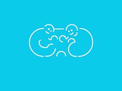Cloud Families line hug cloud families family logo love kid icon minimal