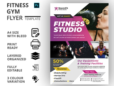 FITNESS (GYM) FLYER TEMPALTE