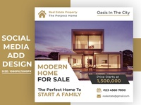 Real estate sale social media banner or square flyer template