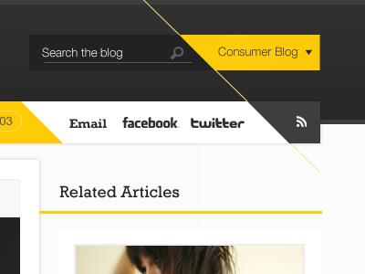 Diagonal line orange grey white social nav navigation blog website web design creative angles search @coolpink
