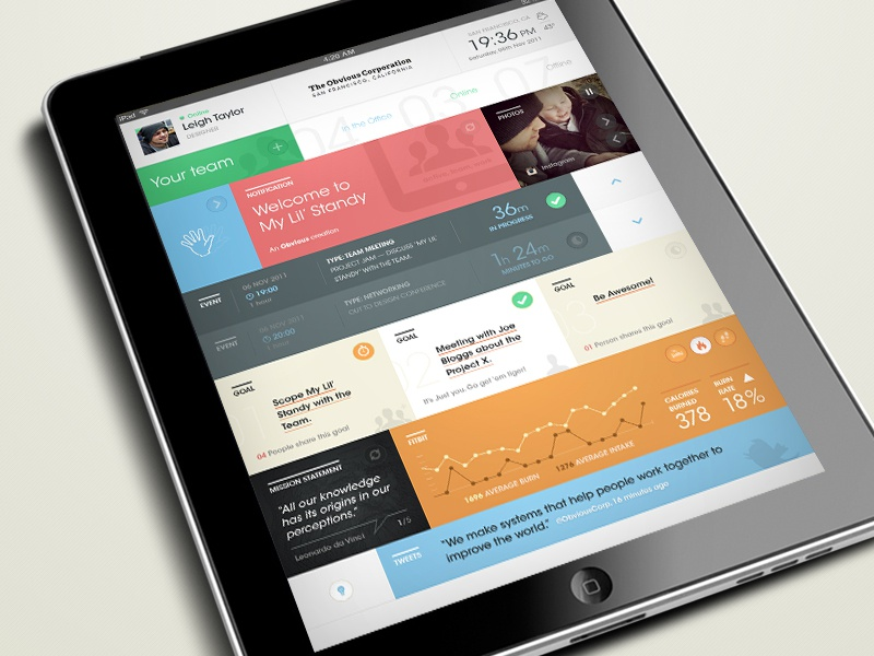 Standy @obviouscorp product ipad design standy color metro ui dashboard widgets productivity data