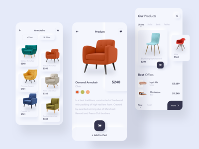 Furniture e-commerce ios mobile app screens design for clients