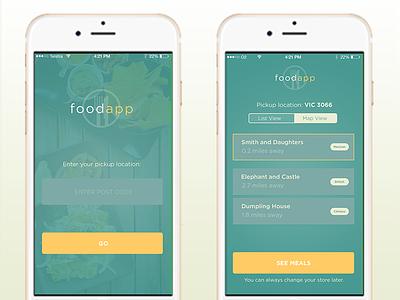 Food App UI flat design ios app debut iphone minimal